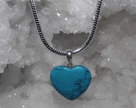 Turquoise Necklace, Gemstone Necklace, Heart Pendant, Sterling Silver Necklace, Crystals for Healing