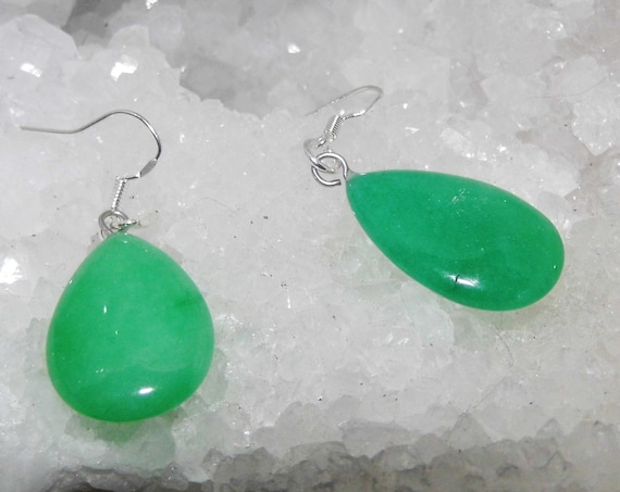 Green Jade Earrings, Gemstone Earrings, Sterling Silver Earrings, Teardrop Earrings, Crystals for Healing