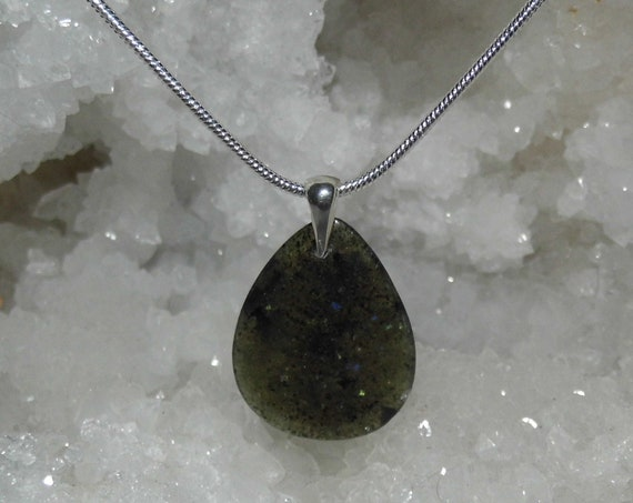 Dark Green Aventurine Necklace, Gemstone Necklace, Teardrop Pendant and Sterling Silver Necklace, Crystals for Healing