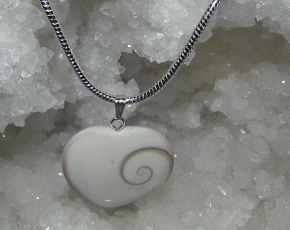 White Shiva Eye Heart Pendant and Silver Necklace