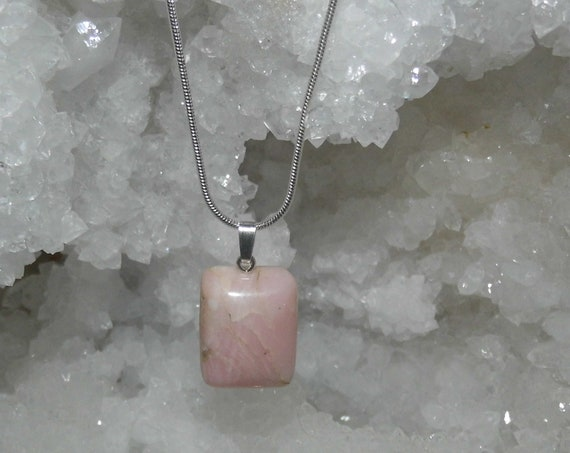 Pink Opal Necklace, Opal Pendant, Gemstone Necklace, Sterling Silver Necklace,Crystals for Healing