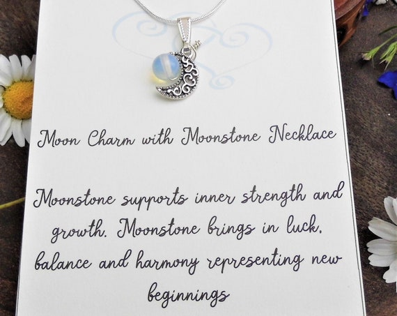 Moonstone Bead Necklace with Charm,  Moon Charm with Moonstone Bead Pendant 925 Silver Necklace, Personalised Necklace