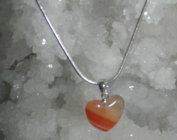 Carnelian Heart Necklace,  Orange Carnelian Pendant and  Sterling Silver Necklace, Crystals for Healing