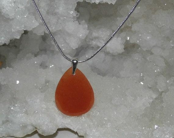 Carnelian Teardrop Necklace,  Carnelian Pendant on a Sterling Silver Necklace, Gemstone Necklace