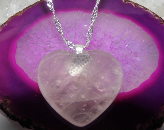 Rose Quartz  Heart Necklace, Rose Quartz Pendant on a Sterling Silver Necklace, Gemstone Necklace
