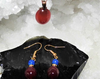 Carnelian Necklace and Earrings Set, Silver Earrings with Carnelian and Lapis Lazuli,  Carnelian Oval Pendant on a Rose Gold Necklace,