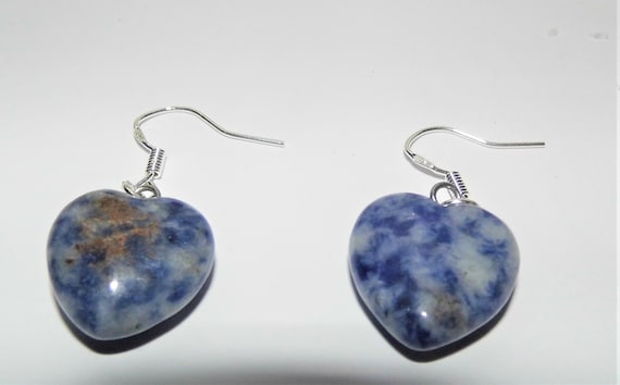 Sodalite Earrings,  Gemstone Earrings, Heart Earrings, Sterling Silver Earrings, Crystals for Healing
