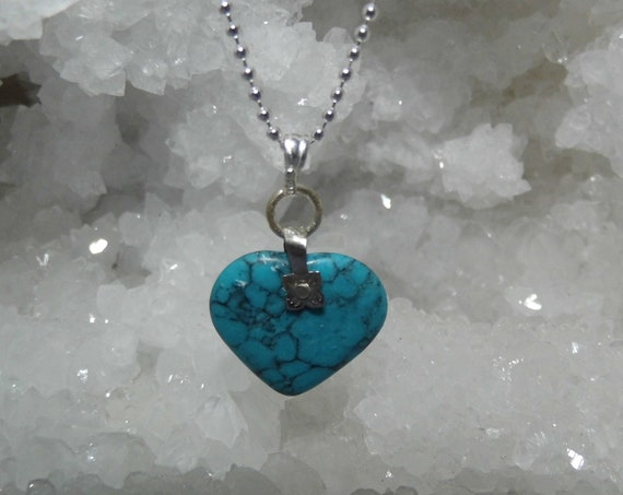 Turquoise Heart Necklace, Gemstone Necklace, Heart Pendant, Sterling Silver Necklace, Crystals for Healing