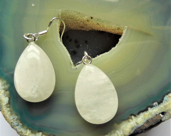 Snowy Quartz Teardrop Earrings,  Snowy Quartz Gemstones on Sterling Silver Drop Earrings