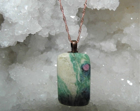Ruby in Fuchsite  Necklace, Ruby in Fuchsite Pendant Sterling Silver Singapore Necklace, Heart Healer Crystal, Crystals for Healing