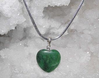 Malachite Heart Necklace, Malachite Pendant on a Sterling Silver Necklace, Malachite Jewellery
