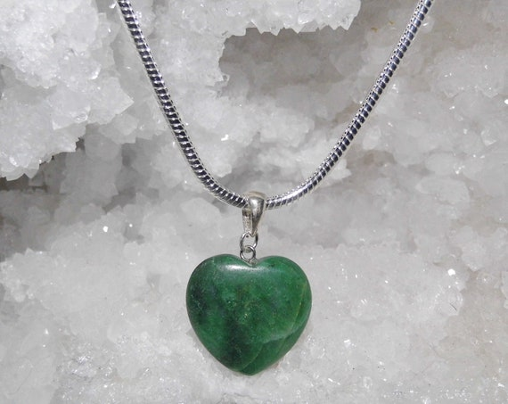 Malachite Heart Necklace, Malachite Pendant on a Sterling Silver Necklace, Love Gift