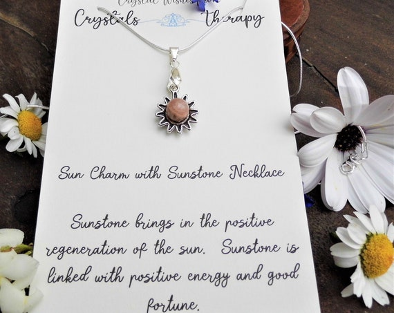 Sunstone Charm Silver Necklace, Sun Charm and  Sunstone Bead Pendant Necklace, Personalised Necklace, Sunstone Jewellery
