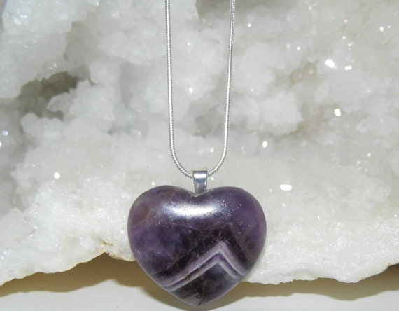 Amethyst Heart  Necklace, Amethyst Heart Pendant, Sterling Silver Necklace, Heart Jewellery