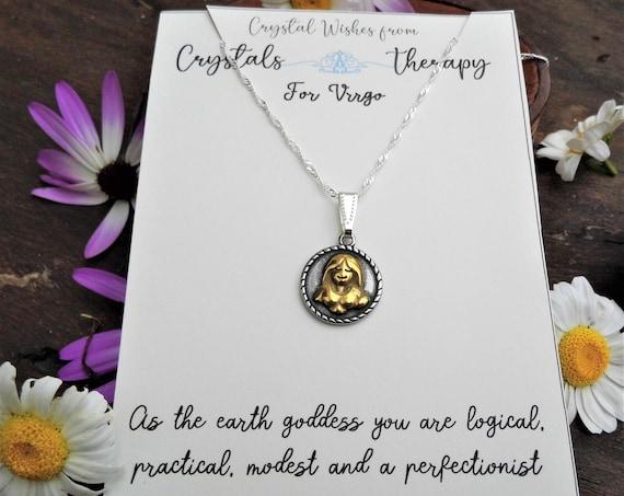 Virgo Charm Necklace, Zodiac  Charm Pendant, 925 Silver Necklace, Double Sided Virgo Pendant, Virgo Gift