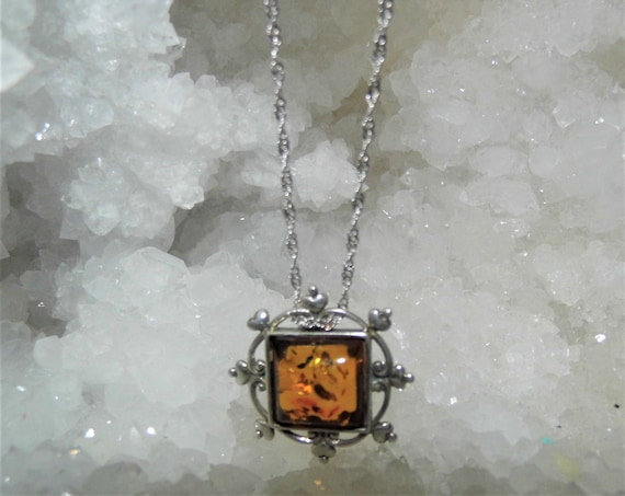 Ornate Amber Pendant Necklace,   Baltic Amber Pendant,  Amber and Sterling Silver Necklace