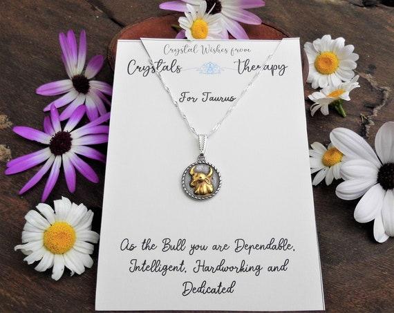 Taurus Charm Necklace, Zodiac  Charm Pendant, 925 Silver Necklace, Double Sided Taurus Pendant, Taurus Gift