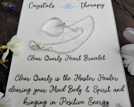 Clear Quartz Charm Bracelet, Clear Quartz Heart Bracelet, Personalised Charm Bracelet, Clear Quartz Jewellery