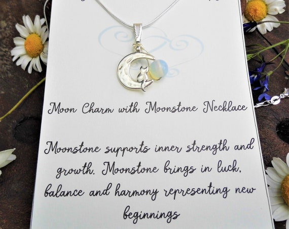 Moonstone with Cat on Moon Charm Necklace, Moonstone Bead Pendant on a 925 Silver Necklace, Personalised Charm Necklace