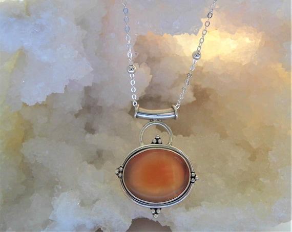 Carnelian Oval Necklace,  Carnelian Silver Pendant,  Sterling Silver Necklace, Gemstone Necklace