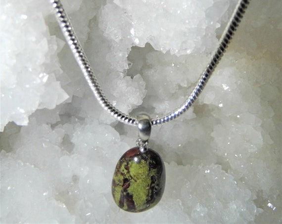 Green Dragon Stone Necklace, Green Dragon Stone Pendant and Sterling Silver Necklace, Gemstone Healing Necklace