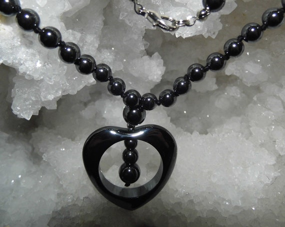 "20"" Hematite Heart Necklace, Pendant Necklace, Gemstone Necklace, Crystals for Healing"