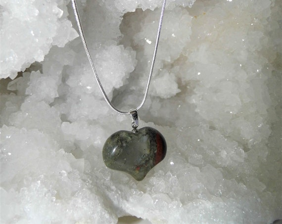 Jasper Bloodstone Necklace, Puff Heart Necklace, Gemstone Necklace Sterling Silver Necklace, Crystals for Healing