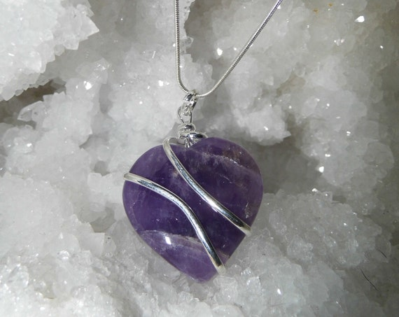 Amethyst Heart Necklace,  Amethyst Necklace Sterling Silver, Amethyst Pendant Necklace.