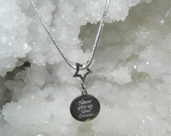 Sterling Silver Pendant Necklace, Silver Disc Pendant, Sterling Silver Necklace, Engraved Silver Disc Never Give Up Your Dreams