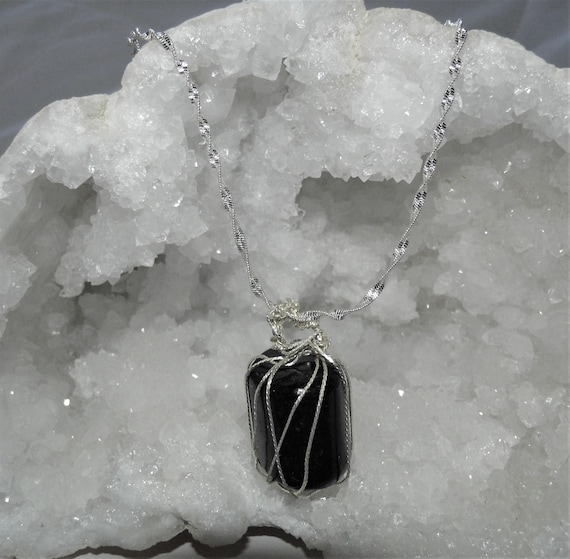 Black Tourmaline Necklace, Wire Wrapped Tourmaline,  Black Tourmaline Pendant, Sterling Silver Necklace, Grounding Gemstone