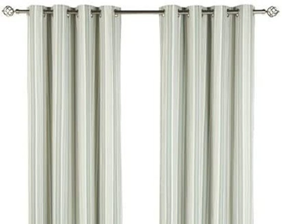 """Lined Eyelet Curtains in Striped Eau de Nil, Iliv Beechwood Eyelet Curtains,  66"""" x 72"""" Eyelet Curtains"""