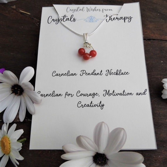 Carnelian Necklace, Carnelian Bead Pendant Necklace, 925 Silver Necklace, Personalised Necklace, Jewellery Gift