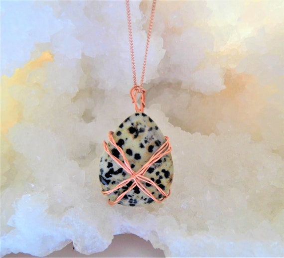 Dalmatian Jasper Pendant Necklace, Wire Wrapped Teardrop Jasper, Gemstone Necklace, Dalmatian Jasper Jewellery