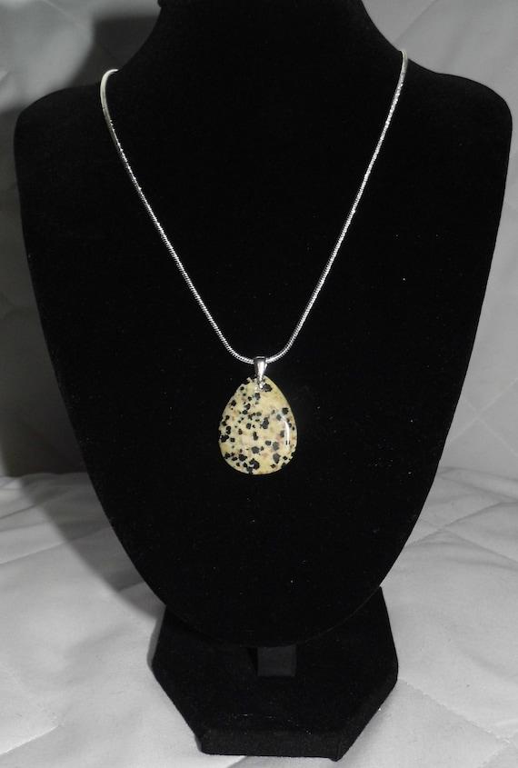 Dalmatian Jasper Necklace, Teardrop Pendant, Sterling Silver Necklace, Gemstone Necklace, Crystals for Healing