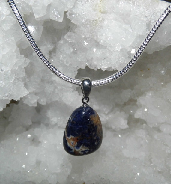 Lapis Lazuli  Teardrop Pendant Necklace,  Lapis Lazuli Pendant on a Sterling Silver  Necklace, Crystals for Healing