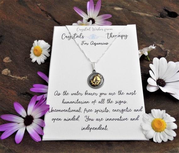 Aquarius Charm Necklace, Zodiac  Charm Pendant, 925 Silver Necklace, Double Sided Aquarius Pendant, Aquarius Gift