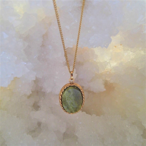 Green Moss Agate Necklace, Gemstone Necklace,  Agate Oval Pendant,  Green Pendant Necklace, Crystals for Healing
