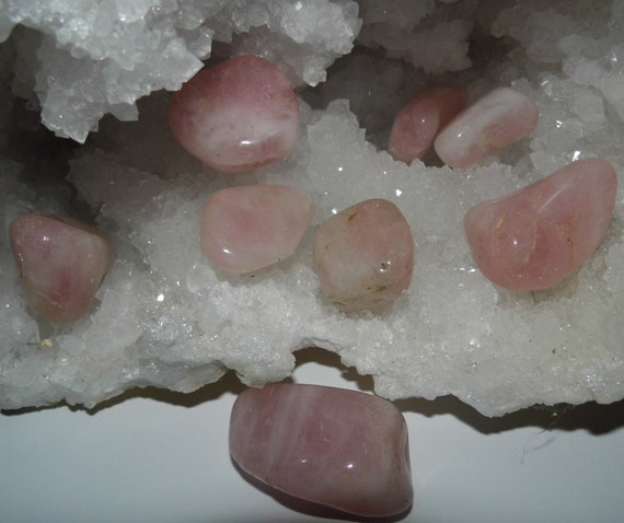 8 Rose Quartz Crystals for Healing Frightened and Abused Animals