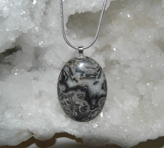 Crazy Lace Agate Necklace, Agate Oval Pendant, Sterling Silver Necklace, Gemstone Necklace