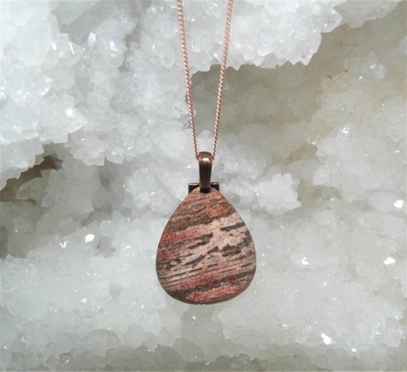 White Stripe Jasper  Necklace, Jasper Teardrop Pendant,  Rose Gold Necklace, Gemstone Necklace