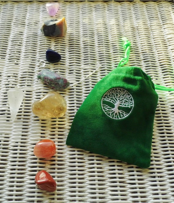 7 Chakra Crystal Set for Balancing and  Re-Charging Chakras,  Chakra Crystals for Healing,  Therapy Crystals