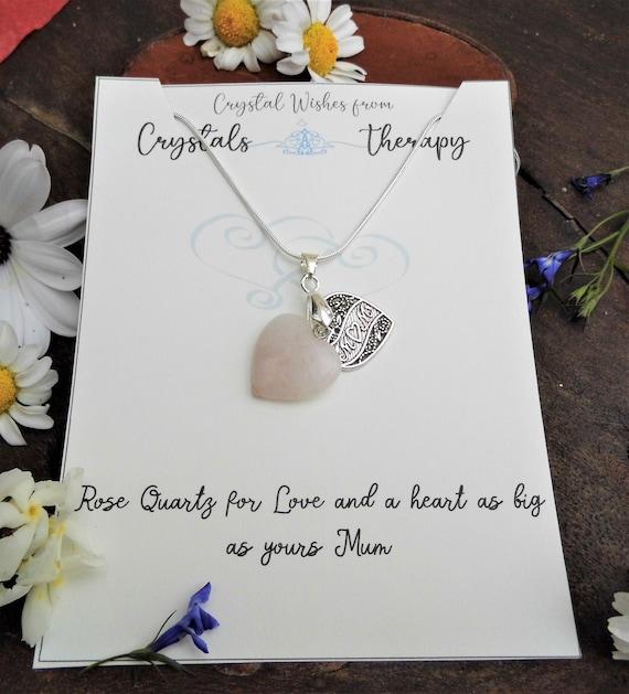 Mum Heart Necklace, Rose Quartz Heart Charm Necklace, Rose Quartz Pendant, 925 Silver Necklace, Mum Necklace, Mum Gift
