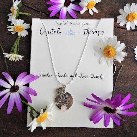 Teacher Charm Necklace,  Rose Quartz Charm Pendant, 925 Silver Necklace, Teacher Thanks Gift, Jewellery Gift