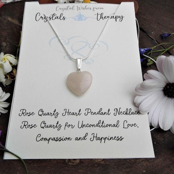 Rose Quartz Heart Necklace, Rose Quartz Pendant, Personalised Necklace, Jewellery Gift