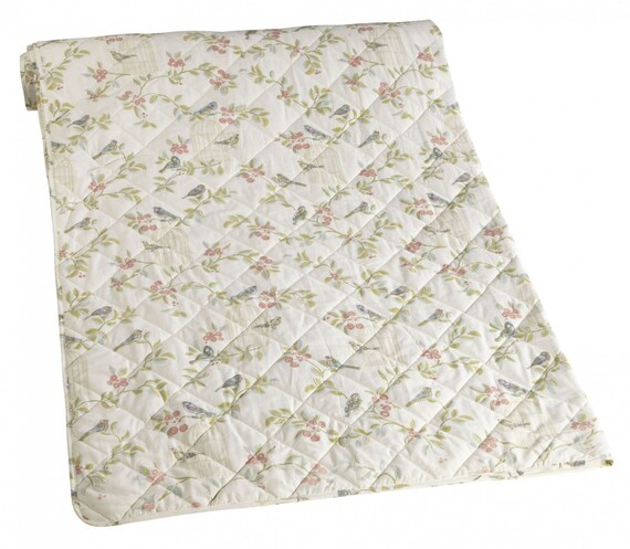 Shabby Chic Throw, Quilted Cotton Throw, Songbird Pattern Throw, Large Cotton Throw, Ivory Patterned Throw