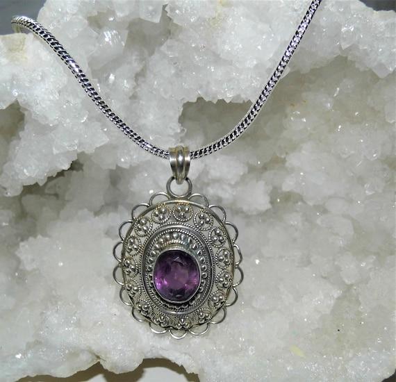 Amethyst Oval Necklace,  Amethyst Pendant, Sterling Silver Necklace, Amethyst Crystal, Amethyst Jewellery
