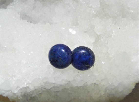 Lapis Lazuli Earrings,  Round Stud Earrings, Lapis Lazuli Sterling Silver Earrings