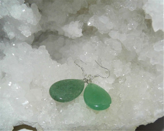 Green Aventurine  Earrings, Gemstone Earrings, Sterling Silver Earrings, Teardrop Earrings, Crystals for Healing