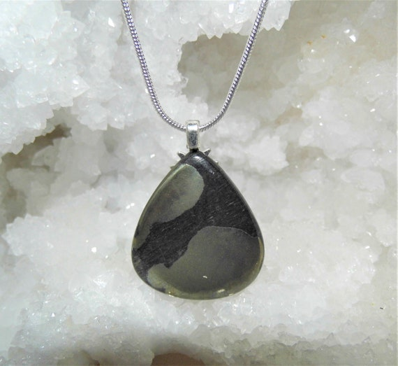Pyrite Necklace, Pyrite Teardrop Pendant,  Sterling Silver Necklace, Gemstone Necklace, Crystals for Healing