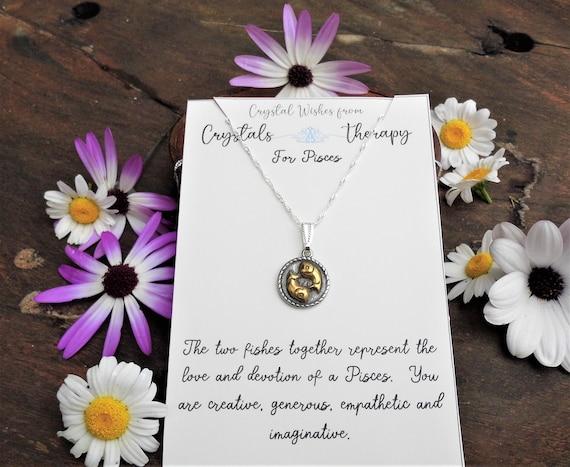 Pisces Charm Necklace, Zodiac  Charm Pendant, 925 Silver Necklace, Double Sided Pisces Pendant, Pisces Gift